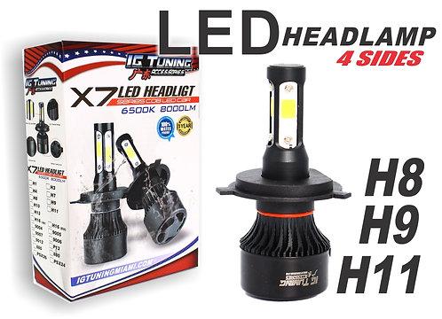 Headlight Led 4 sides Black H8H9H11
