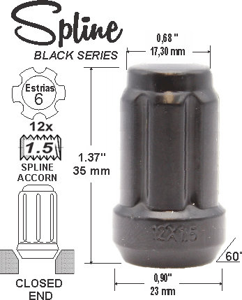 Spline Acorn L35mm 12x1.5 6Sp Black