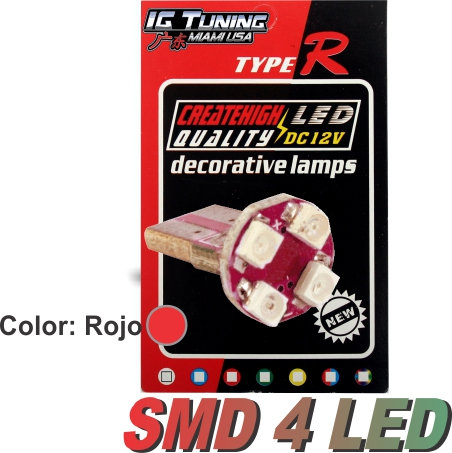 T10 4 Led Circuit Board Wedge Red