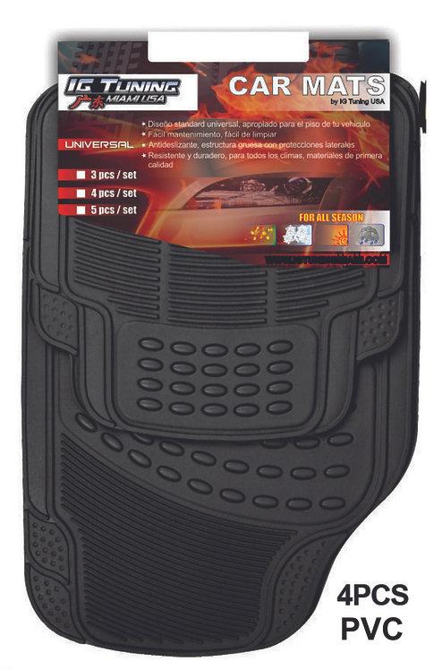 Pvc  Floor Mat Pvc Adjustable Black 4 Pcs