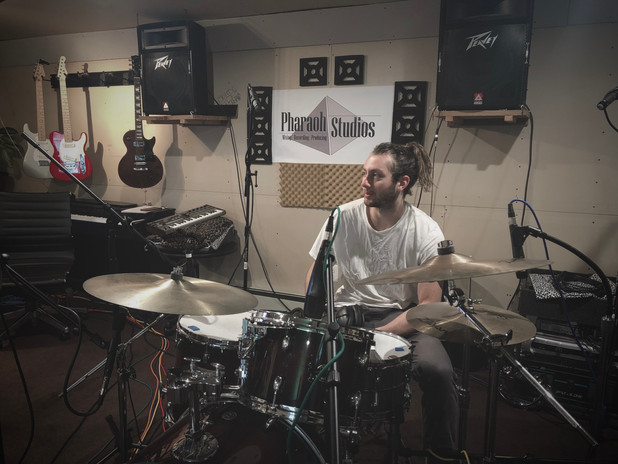 Tracking Drums for clients at Pharaoh Recording Studios 2019