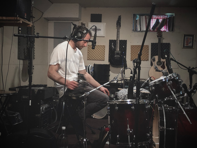 Tracking Drums for clients at Pharaoh Recording Studios 2020