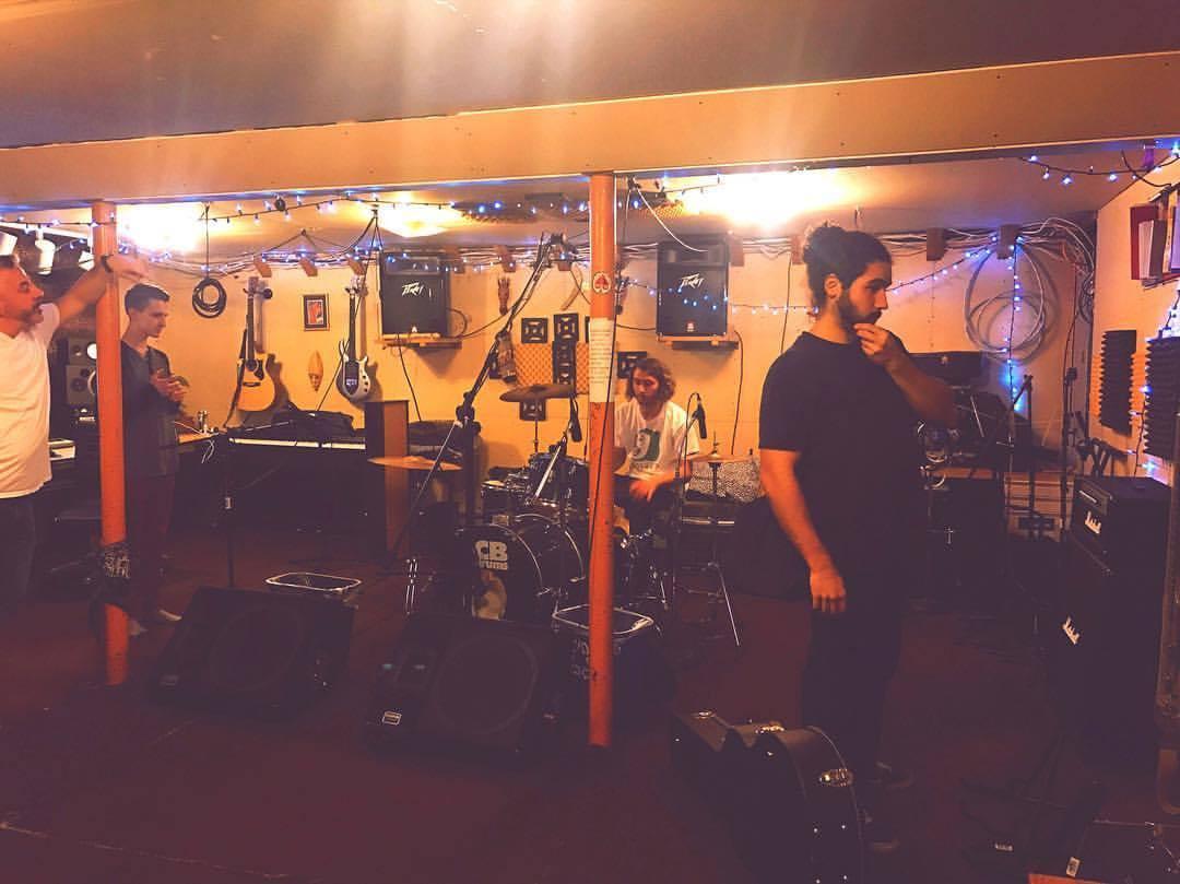 Recording Hap Haven with The Merks at Pharaoh Studios, 2018