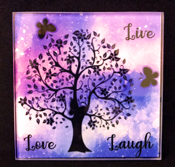 Live Love Laugh Tree Glass