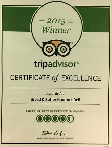 Trip Advisor 2015 Winner