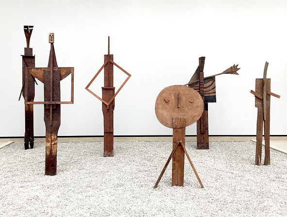 Pablo Picasso, Bathers, 1956, Found pieces of wood, assembled and reworked, variable sizes. Installation view, Staatgalerie Stuttgart.