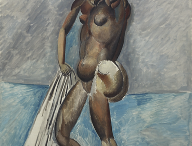 Pablo Picasso, Bather, 1908-09, Oil on canvas, 129.8 x 96.8 cm. © 2018 Estate of Pablo Picasso / Artists Rights Society (ARS), New York.