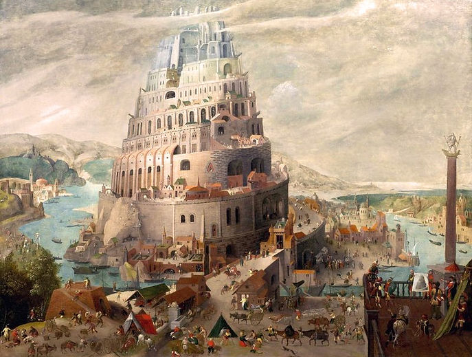 "Abel Grimmer, ""The Tower of Babel"", 1595, Oil on Wood, 71.8 x 92.4 cm. Louvre Abu Dhabi."