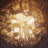 "Detail: Debjani Bhardwaj, ""The Boy Who Left Home to Trick Them Al""l, 2018, Fabricated wood, acrylic, laser cut PET, plastic, LED lights, 200 x 120 cm. Image © Tashkeel."