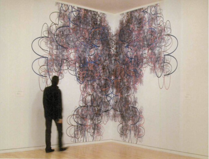 Pascal Dombis,Antrsana 11, 2000, recreated 2008,site-specific installation, inkjet print on vin/l, approx. 12 x 17 ft. (365 x 5 18 cm), installation view, Mary and Leigh Block Museum of Art, Northwestern University. Collection of the artist (© Pascal Dombis).