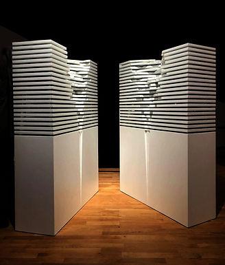 "Installation view: Bashar Alhroub, ""Object 3 (Bilad Al Urb Awtani)"", 2018, Mixed Media Sculpture, 180 x 120 x 43 cm©Bashar Alhroub."