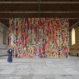 "Caroline Coppey, ""Le Grand Voile, 2176 Tissues"", 2007-14, 6.5 x 10.5 m. Install view at Hotel-Dieu de Tonnerre. © Caroline Coppey"