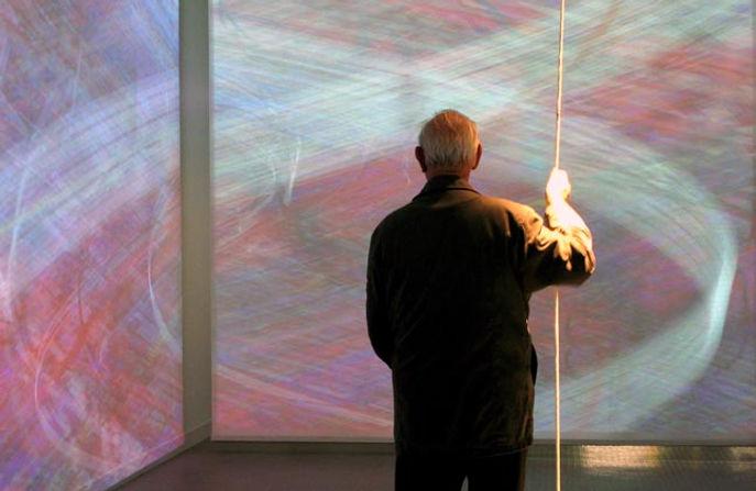 Pascal Dombis, Géométries Irrationnelles, 2008. Galerie Municipale, Vitry sur seine, FR. View from video installation. 4 screens, each screen : 13 x 10 ft. Video software: Claude Micheli; Electronic: Sylvain Belot. Collection of the artist (© Pascal Dombis).