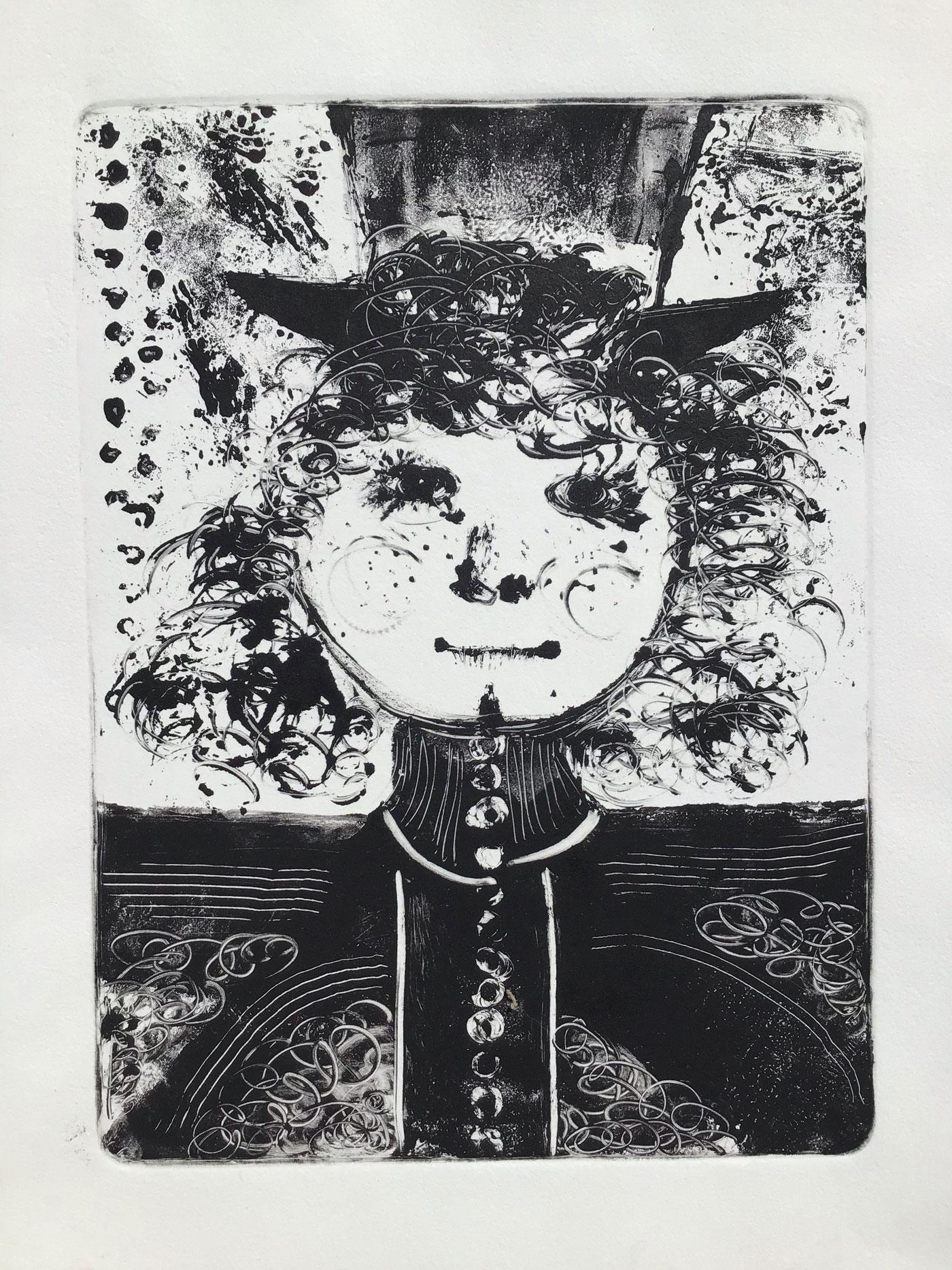 Black and white print by Nancy