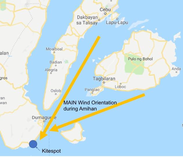 Main wind Amihan Philippines Kitesurf Negros Map