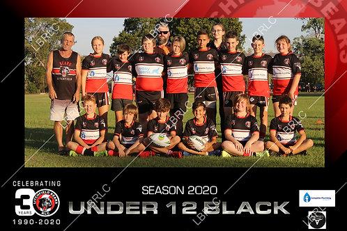 U12 Black Team Photo Print
