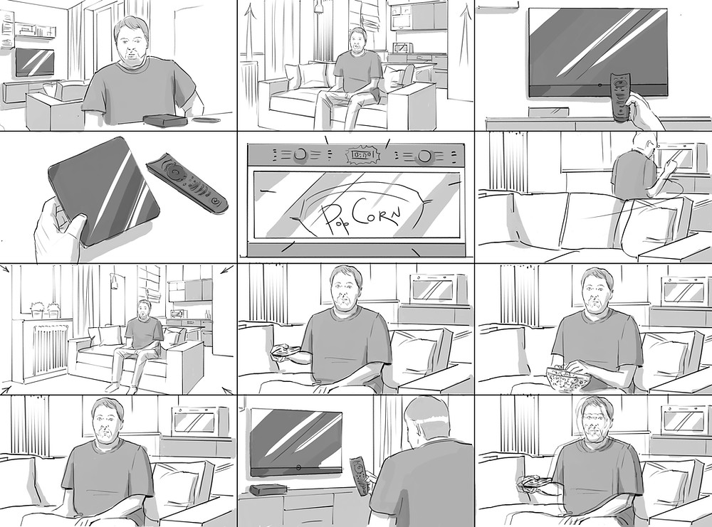 A storyboard of a commercial video where a man makes popcorn while watching video from a streaming service