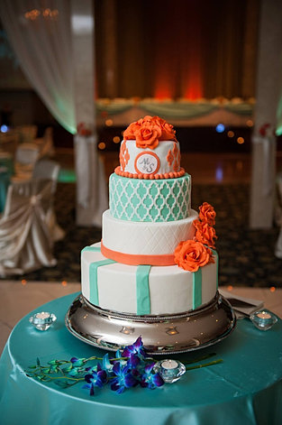 Orange Teal Wedding Cake