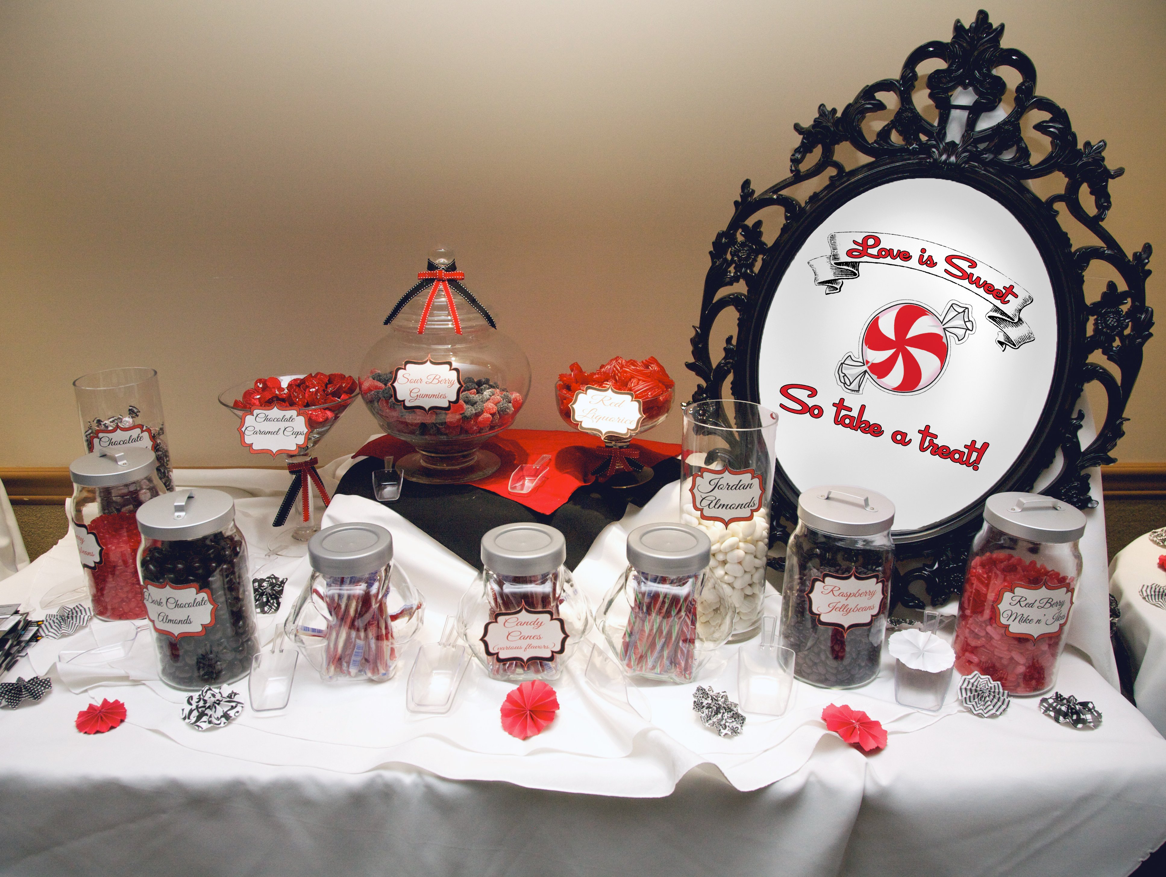 Black and Red Sweets Table
