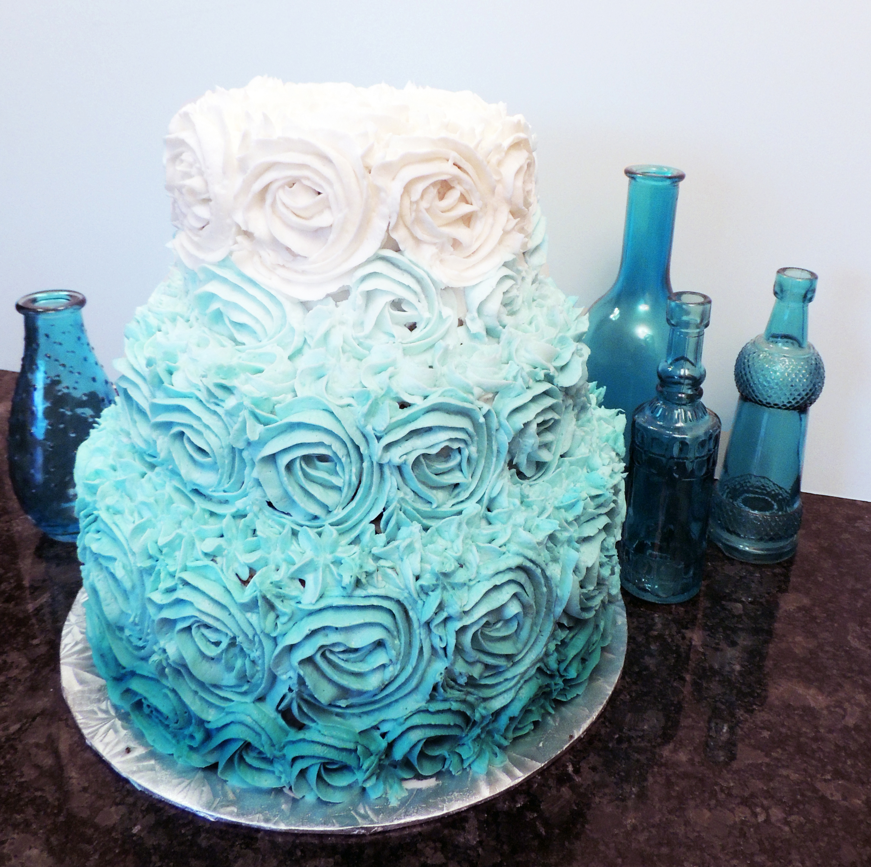 Teal Rosette Wedding Cake
