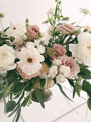 Romantic white and blush color palette floral centerpiece