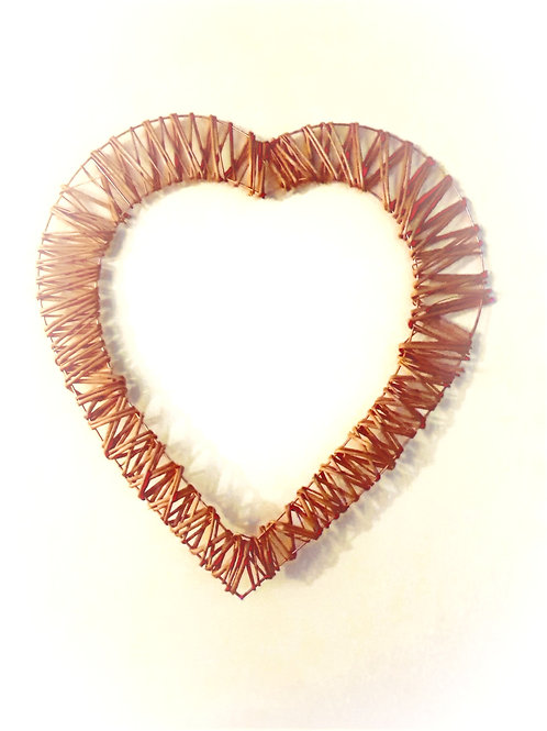 Large Wire Buff Willow Heart