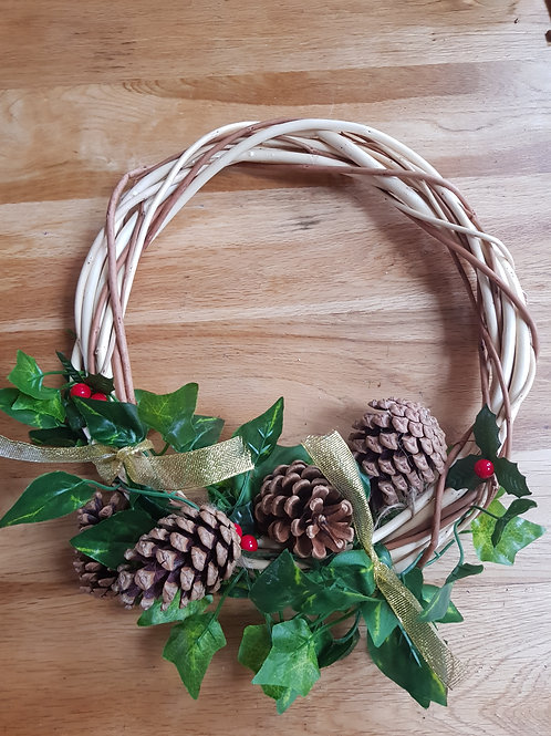 White willow and buff willow wreath with LED lights
