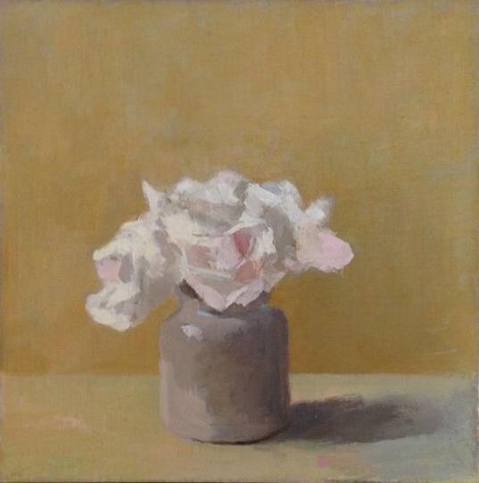 Roses in a mustard pot