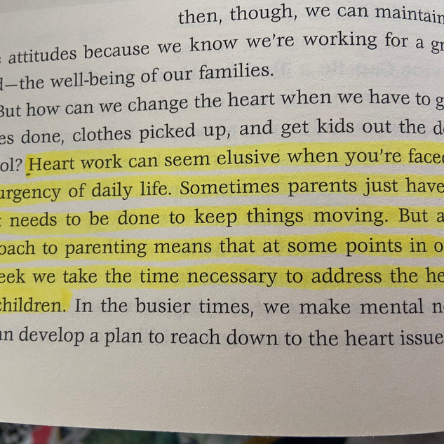 Reading the Parenting is heart work book