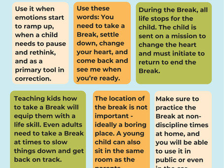 When Children need correction, Use the Break to slow them down