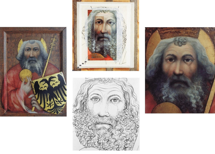 originál   analytická rekonstrukce - detail  podkresba - detail  kopie - detail