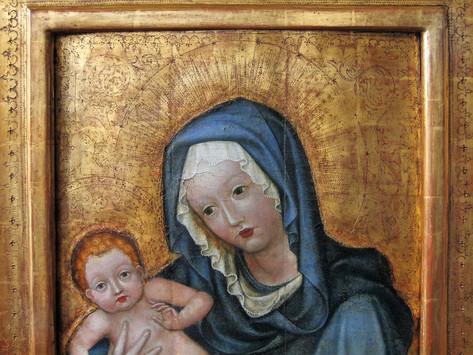 stav restaurovaného obrazu s rekonstruovaným pozadím na samonosné snímatelné podložce - detail