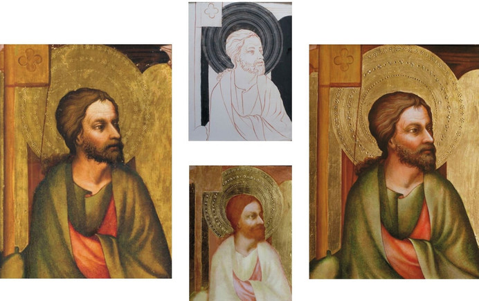 originál - detail  podkresba - stav před zlacením  podmalba - druhý stav  kopie - výřez