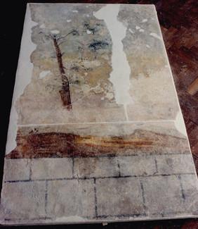 stav po osazení snesené malby na přenosný panel