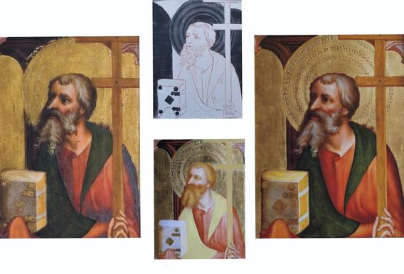 originál - detail  stav před zlacením  druhý stav podmalby  kopie - výřez