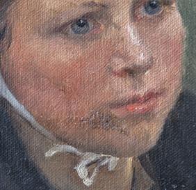 stav před restaurováním ztmavlé retuše - detail