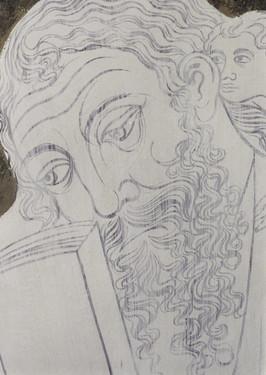 prvotní kompoziční podkresba s imprimiturou - detail