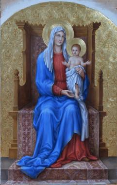 Trůnící Panna Marie s dítětem - hypotetická rekonstrukce původní malby