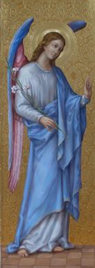 Archanděl Gabriel - hypotetická rekonstrukce původní malby (zadní strana oltáře)
