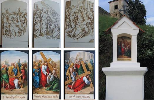 malířská rekonstrukce zničené Křížové cesty
