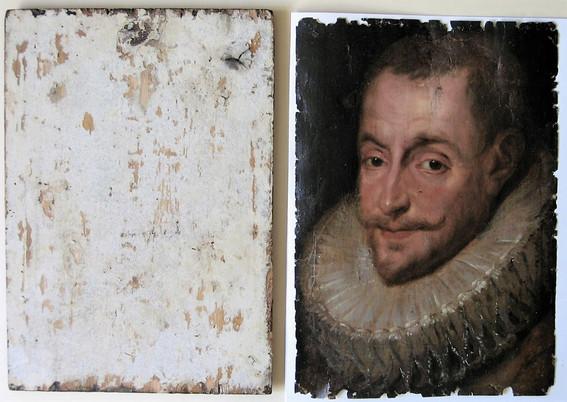 stav po sejmutí zdeformované malby na papíru z druhotné podložky