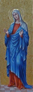Navštívení Panny Marie - hypotetická rekonstrukce původní malby  (zadní strana oltáře)