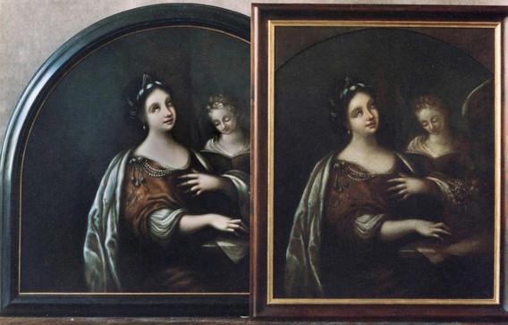 kopie s druhotnou formátovou úpravou lunetového tvaru  originál po restaurování
