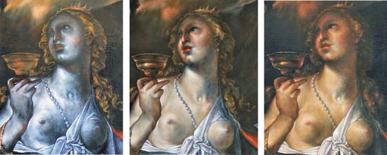 podmalba   základní stav malby bez finálních barevných lazur  finální stav