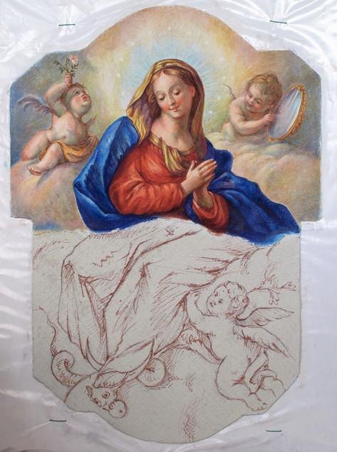 tzv. giornata s přípravnou kresbou - sinopie na aricciu