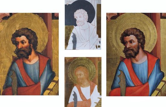 originál - detail  stav v průběhu zlacení  první stav podmalby  kopie - výřez