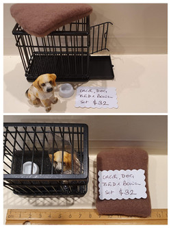 Dog, Cage, Bed & Bowl