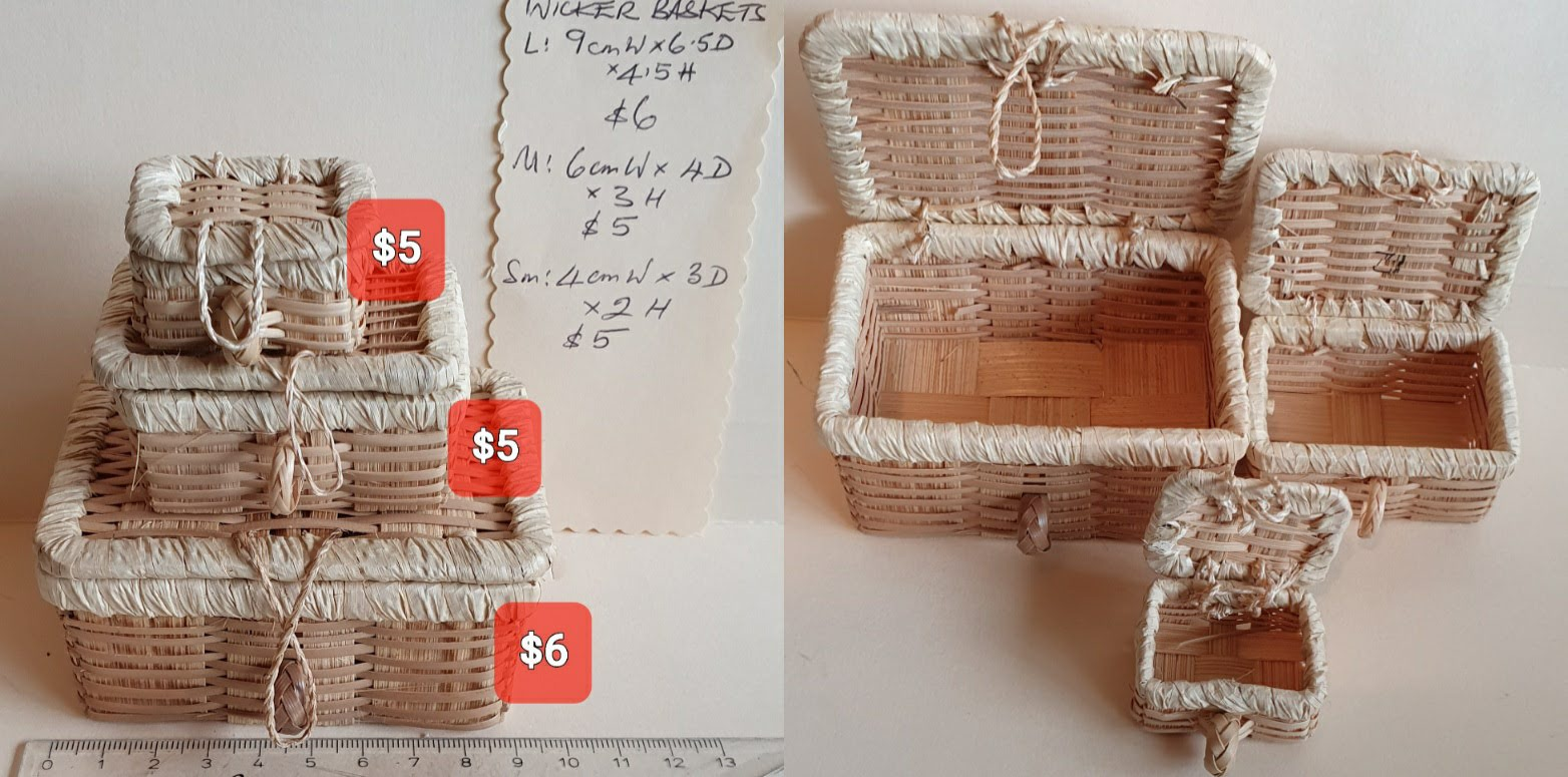 Wicker Baskets/3 sizes, sold separately