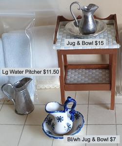 Jugs & Bowls, $ as per pic