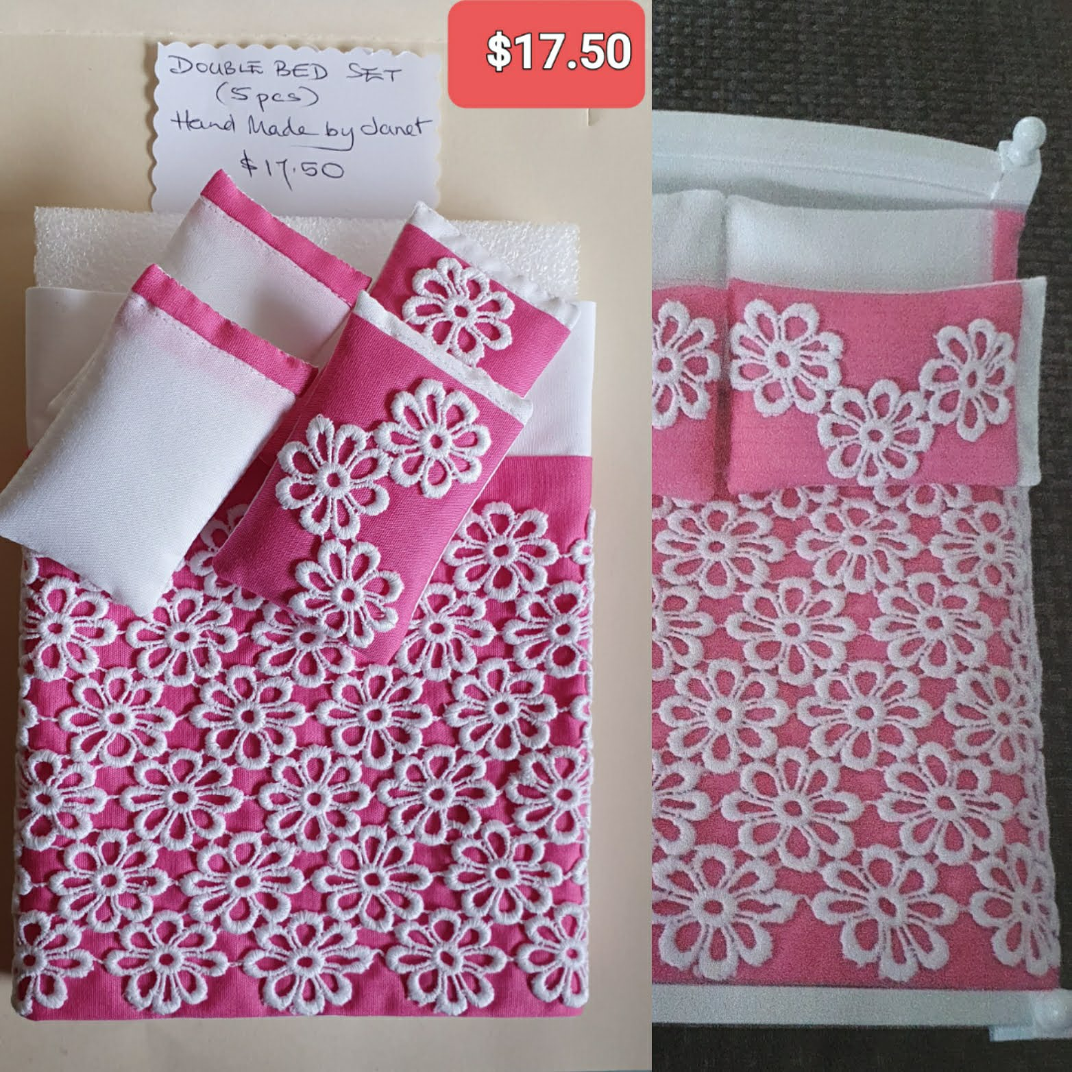 D/bd Set, 5pc, Pink/lace $17.50